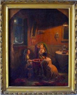 Carl Ludwig Friedrich Becker (1820-1900) attr., Ölgemälde, Die Wahrsagerin, D0048