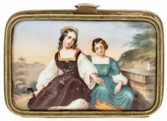 Eduard Julius Friedrich Bendemann (1811 – 1889), Mädchen am Brunnen, Porzellanmalerei, Portemonnaie, A0171