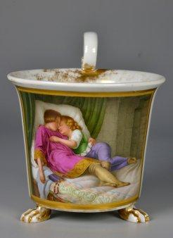 Ferdinand Theodor Hildebrand (1804-18749), Die Söhne Eduard´s (Auszug), Porzellanmalerei, Tasse, D2167