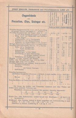 Porzellan-Manufaktur und Pfeifenfabrik Engler, Linz a.D. Preis-Kurant um 1900, D0974-S 44
