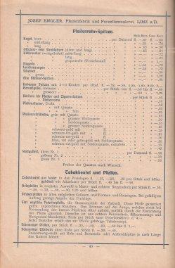 Porzellan-Manufaktur und Pfeifenfabrik Engler, Linz a.D. Preis-Kurant um 1900, D0974-S 40