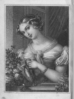 Franz Xaver Stöber (1795-1858), Die Blumengießerin, Kupferstich nach J. N. Ender, A0181