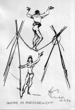 Gerhard Vontra (1920-2010), Immer im Gleichgewicht, Federzeichnung 1977, D2183