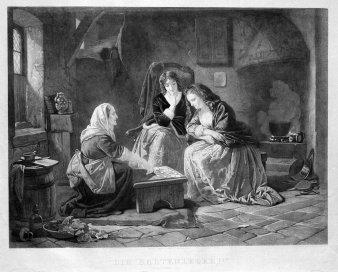 Hermann Sagert (1820-1900), Stahlstich, Die Kartenlegerin nach C.L.F.Becker, A0177