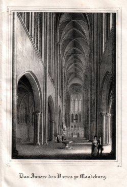 "Magdeburg, ""Das Innere des Domes zu Magdeburg"", Lithographie 1838, D1822"
