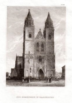 "Magdeburg, ""Die Domkirche in Magdeburg"", Stahlstich 1847, D1529"