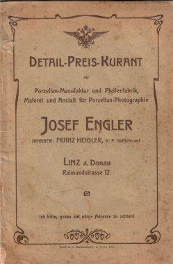 Porzellan-Manufaktur und Pfeifenfabrik Engler, Linz a.D. Preis-Kurant um 1900, D0974-Umschlag 1