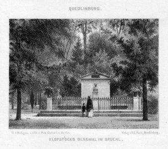 Robert Franz Wilhelm Geissler (1819-1893), Quedlinburg Kloppstocks Denkmal im Brühl, Lithographie um 1850, D2179