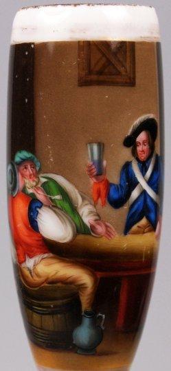 Wirtshausszene mit Soldat, Porzellanmalerei, Pfeifenkopf, D1200