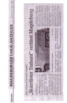 31.01.2009 Skurrilster Trabant verlässt Magdeburg