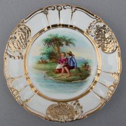 Angelnde Kinder, Porzellanmalerei, Zierteller, D0736-04