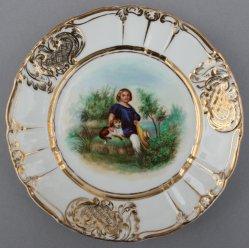 Kind mit Hut und Hund, Porzellanmalerei, Zierteller, D0736-06