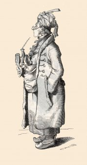 "Porcelain tobacco pipe (Smoking pipe, Tabakpfeife), ""Der Renegat"", Holzstich 1845"