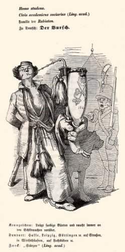 """Porcelain tobacco pipe (Smoking pipe, Tabakpfeife), """"Homo students"""", Holzstich 1845"""