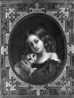 Lithophanie, Meißen 192 - Kind mit Katze