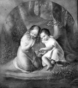 Lithophanie, Meißen 208 - Angelnde Kinder