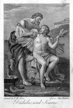 Anton Karcher  (1760-1842), Dädalus und Icarus, Kupferstich nach J.M.Vien, A0191