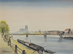 Herbert Stockmann (1913-1947), Magdeburg Elbpanorama, Aquarell 1938