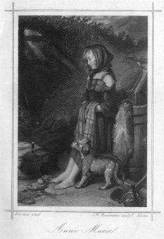 I.W.Baumann, Anna Marie, Stahlstich nach E.H.Landseer, A0193