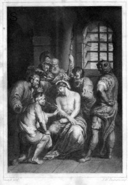 J.W.Baumann, Die Verspottung Christi, Stahlstich nach van Dyck, A0182
