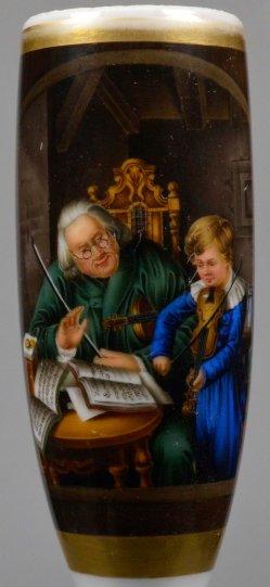 Joh. Friedr. Carl Constantin Schroeter (1795-1835), Musikstunde, Porzellanmalerei, Pfeifenkopf, D2204