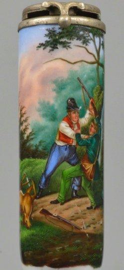 Kampf um erlegtes Wild, Porzellanmalerei, Pfeifenkopf, D2197