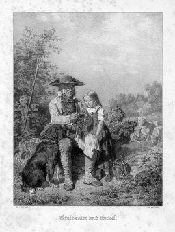 Moritz Ulffers (1819-1902), Großvater und Enkel, Lithographie nach E. Bosch, D1440