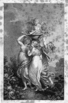 Amadeus Wenzel Böhm (1771-1823), Drei Grazien mit Engel, Kupferstich nach Ramberg, D2246-3