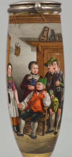 Der Brautvater, Porzellanmalerei, Pfeifenkopf, D2211