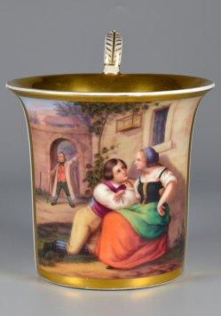 Der verliebte Geselle, Porzellanmalerei, Tasse, D2222