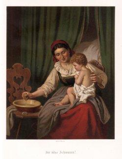Farblithographie, Der böse Schwamm, nach H. Werner 1859, D2226