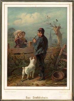 Friedrich Wilhelm Heinrich Theodor Hosemann (1807-1875), Farblithographie, Das Stelldichein, D2234