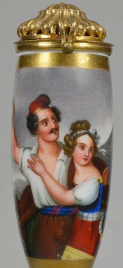 Ludwig Julius Asher (1804-1878), Die Stumme von Portici, Porzellanmalerei, Pfeifenkopf, D2219