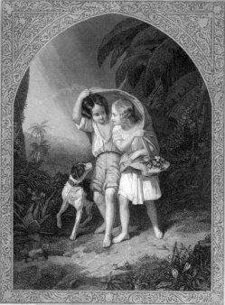 Motiv Meißen 223, Paul und Virginie sich führend, Stahlstich, nach J.Beaume, A0198