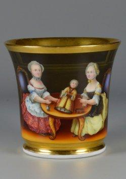 Puppenspiel im Rokoko, Porzellanmalerei, Tasse, D2221