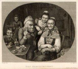 W.Otto, Das Familienfest, Stahlstich nach C. Engel, A0197