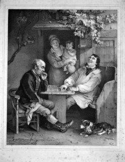 W. Straucher, Die Spieler, Kreidelithographie nach D. Wilkie, D2249