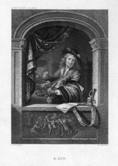 William French (1815-1898), Der Geiger am Fenster, Stahlstich nach Dou, D2093-3