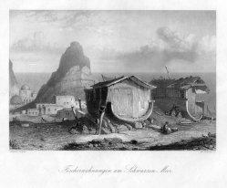 William French (1815-1898), Fischerwohnungen am Schwarzen Meer, Stahlstich nach A.Geyer, D2242-7