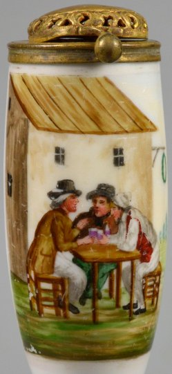 Wirtshausszene, Porzellanmalerei, Pfeifenkopf, D2237