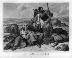 Carl Kotterba (1800-1859), Die Pilger in der Wüste, Stahlstich nach H. Stilke, A0120.jpg