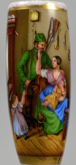 Carl Friedrich Schulz (1796-1866) Des Jägers Abgang zur Jagd, Porzellanmalerei, Pfeifenkopf, D2262