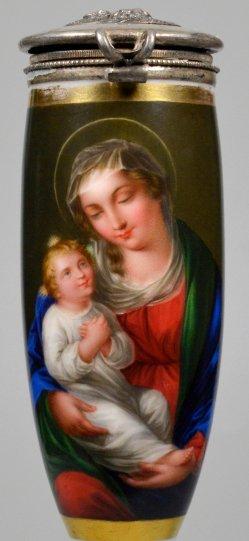 Maria mit Jesuskind, Porzellanmalerei, Pfeifenkopf, D2278