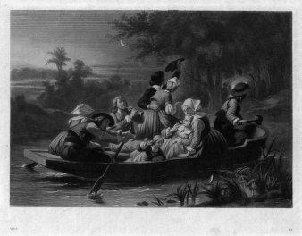 Romantische Mondscheinfahrt im Kahn, Lithographie, D2269-5