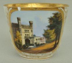 Magdeburg, Oberpräsidialgebäude um 1850, Porzellanmalerei, Tasse, D0693