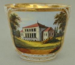 Magdeburg, Gesellschaftshaus Friedrich Wilhelms Garten um 1850, Porzellanmalerei, D0695