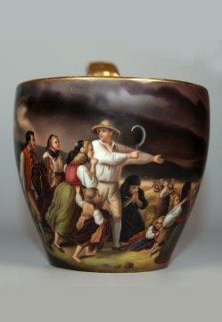 "Jacob Becker (1810-1872) ""Landleute vom Gewitter überrascht"", Porzellanmalerei, Campanertasse, D0900"