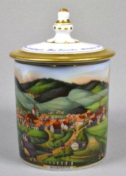 Reichenstein (Złoty Stok), Porzellanmalerei, Bouillon-Tasse mit Deckel, D0953