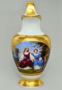 Eduard Julius Friedrich Bendemann (1811 – 1889), Zwei Mädchen am Brunnen, Porzellanmalerei, Sahnekännchen, D1599