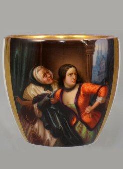 "Carl Wilhelm Friedrich Oesterley (1805 – 1891)""Lenore"", Porzellanmalerei, Tasse gebaucht, D1706"